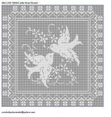 444 birds filet crochet doily mat afghan pattern border