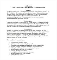 Wedding Resume Format Event Coordinator Job Description Job Description In Resume