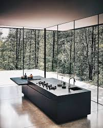 Black Kitchen Island Minimal Black Kitchen Island Bench Surrounded By Tall Windows With
