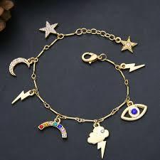 star bracelet charm images Wholesale b10842 star moon rainbow charm bracelet yiwuproducts jpg