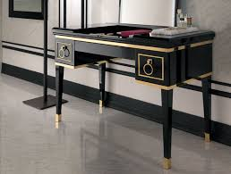 bathroom sleek makeup area room design with light black gold