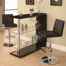 table with 2 stools bar table set in gloss black finish with 2 bar stool by coaster