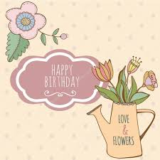 watering can with hand drawn colorful flowers cute card happy