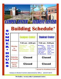 wcsu campus u0026 student centers building hours