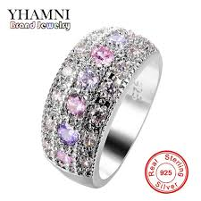 sterling silver wedding gifts yhamni luxury pink purple cz diamant solitaire ring original 925