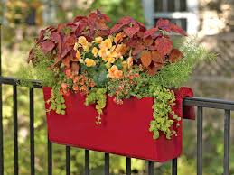 viva self watering deck railing planter red bold color uv