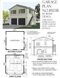 2 story garage plans 1152 1r 24 4 x 24 2 car two story behm garage plansbehm