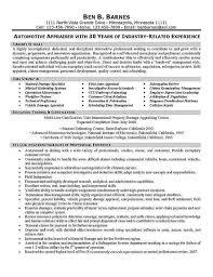 Real Estate Appraiser Resume Auto Damage Appraiser Cover Letter