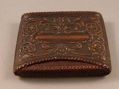Embossed Business Card Holder Vintage Leather Embossed Case Ships Galleon Repurposed Business