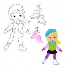 funny in winter clothes on skates isolated on a white