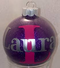 personalized name glitter ornament monogrammed christmas