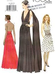 vtg uc vogue pattern 7521 backless evening gown plunge halter