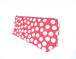 polka dot stationery linen makeup zipper pouch stationery pencil in and