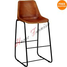 Leather Bar Stools With Back Vintage Look Industrial Bar Chair Genuine Leather Chairs