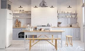 Kitchen Open Shelving Design Decorating Ideas White Shiny Wooden Open Shelving Ideas With