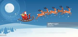 santa sleigh and reindeer santas sleigh and reindeer vector getty images
