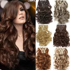 wavy hair extensions 7pcs set clip in hair extension curly synthetic wavy hair