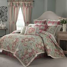 neutral grey bedroom shows cute pink and teal waverly toile