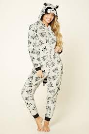pj jumpsuit a plush knit pj jumpsuit featuring an allover raccoon print