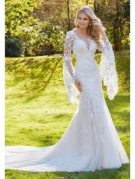 lace wedding dress with sleeves 8129 madonna lace wedding dress with bell sleeves ivory