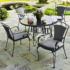 Wrought Iron Patio Table Set Spray Painted Furniture 5 Wrought Iron Patio Set Regarding