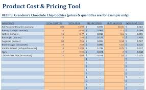 Excel Costing Template Small Food Business Food Product Cost Pricing Calculator