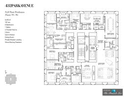luxury penthouse floor plan u2013 ph92 432 park avenue new york ny