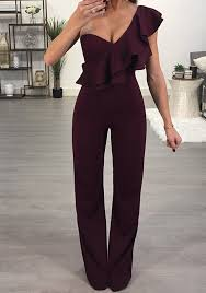 new years jumpsuit burgundy ruffle one shoulder high waisted wide leg new year