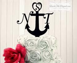 anchor wedding cake topper anchor initial monogram wedding cake topper