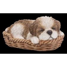 pet pal brown white shihtzu puppy in basket resin ornament by