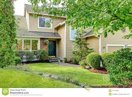 Curb Appeal Front Entrance - american brick house entrance porch and curb appeal stock photo