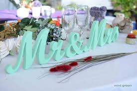 mr mrs wedding table decorations mr and mrs wedding letters mint green sign wedding decoration