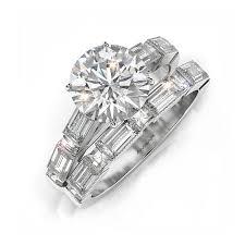 wedding set rings baguette engagement ring wedding set