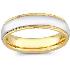 mens two tone gold wedding bands 14k two tone gold s milligrain comfort fit wedding band 5 mm