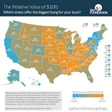 missouri breaks map the real value of 100 in each state tax foundation