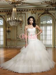 Chapel Train Wedding Dresses Multi Tiered Tulle Strapless Sweetheart Chapel Train Wedding Dress