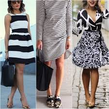 what color shoes would go with a black and white dress style