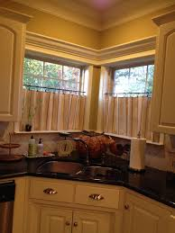 Kitchen Window Covering Ideas Corner Kitchen Window Treatment Ideas Café Curtains For Kitchen