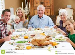 multi generation family celebrating thanksgiving royalty free