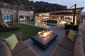 modern patio eye catcher patio landscape with modern outdoor fireplace