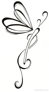 black outline tribal dragonfly tattoo design