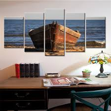 wall art picture more detailed picture about 5 panel wooden boat