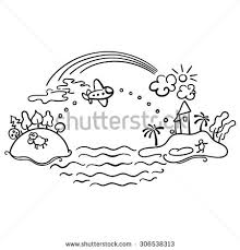 freehand drawing cartoon flight airplane urban stock vector