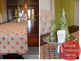Easy Simple Christmas Table Decorations Simple Christmas Decor Burlap Table Runner U0026 Bay Leaf Trees