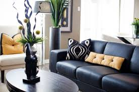 living room dark furniture and decorations with decorative vases