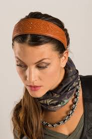 leather headband celtic embossed leather headband hair glove