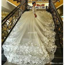 gorgeous long sleeve ball gown wedding dresses long train sheer