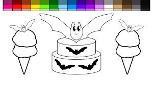 learn colors for kids and color halloween bat birthday cake with
