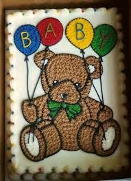 teddy bear baby shower cake just a simple sheet cake with a