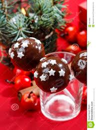 chocolate cake pops decorated with sugar stars stock image image